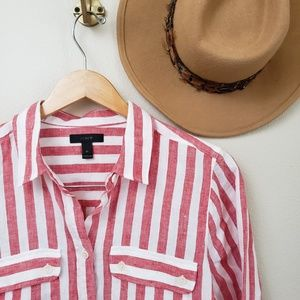 J. Crew Tops - J. Crew Button-up shirt in striped linen Red White